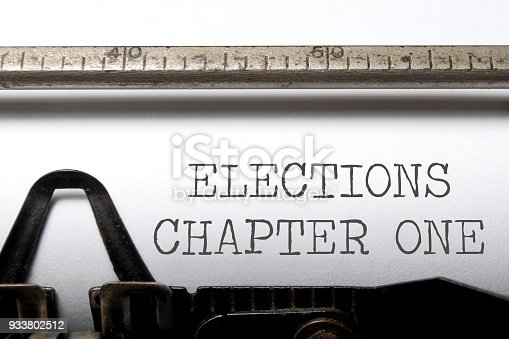 Elections chapter one printed on a typewriter
