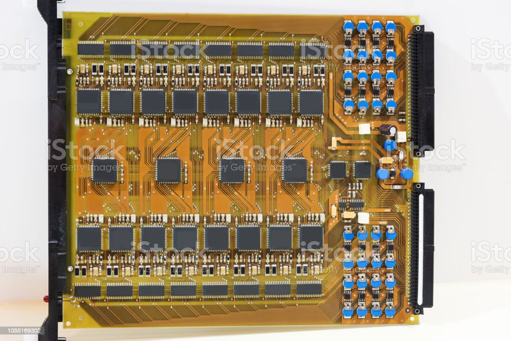 Electonics board with components stock photo