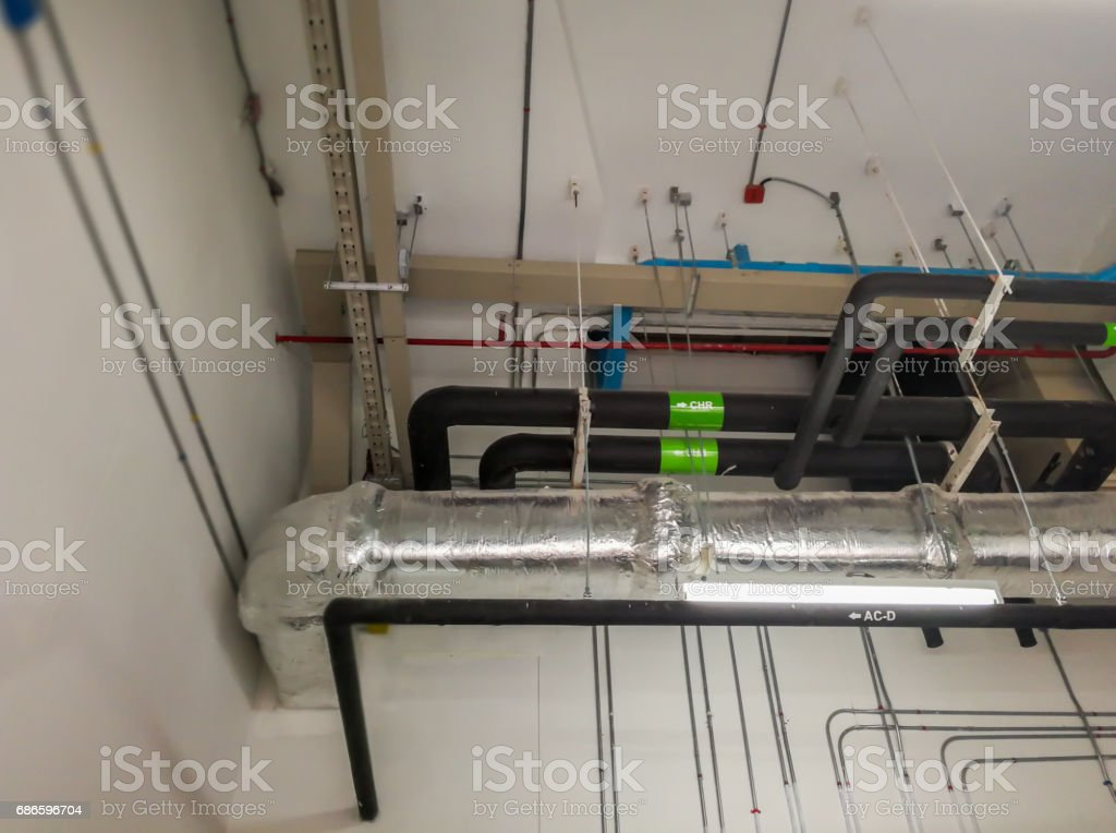 Electric and air condition line system in big building royalty-free stock photo