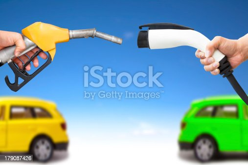 istock electric  and gasoline car concept 179087426