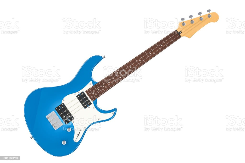 Electric Bass Guitar, 3D rendering isolated on white background stock photo