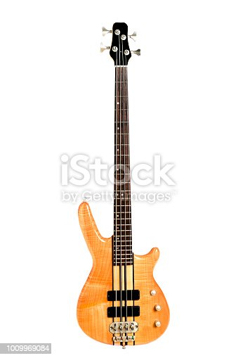 A modern electric bass in beautiful natural maple wood.