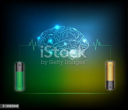istock Electric battery energy  charge brain 513383948