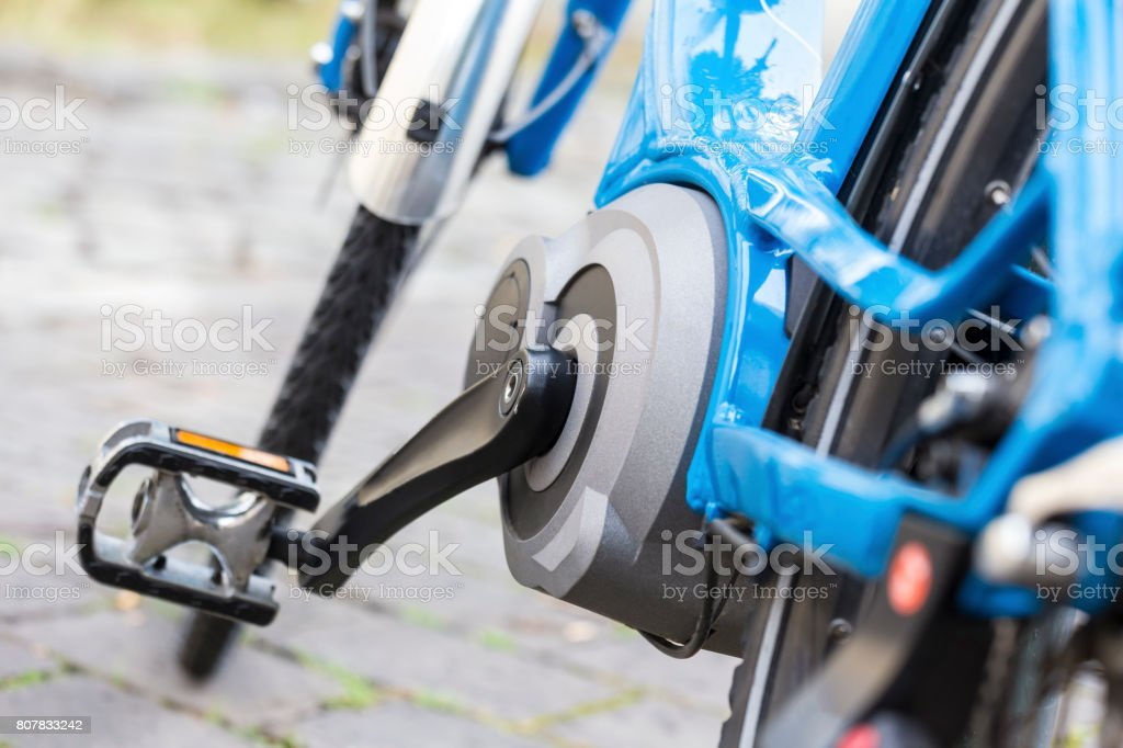 electric bicycle close up stock photo