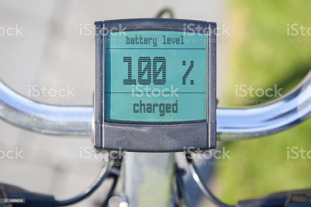 Electric bicycle display in the sun stock photo