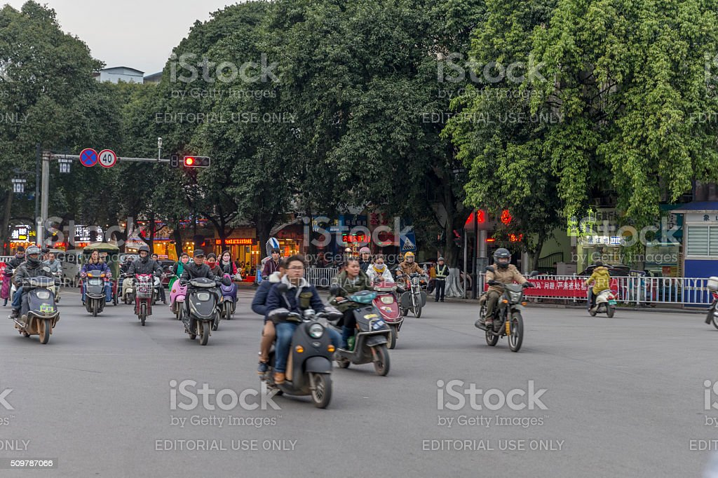 Electric Bike in Guiling, China stock photo
