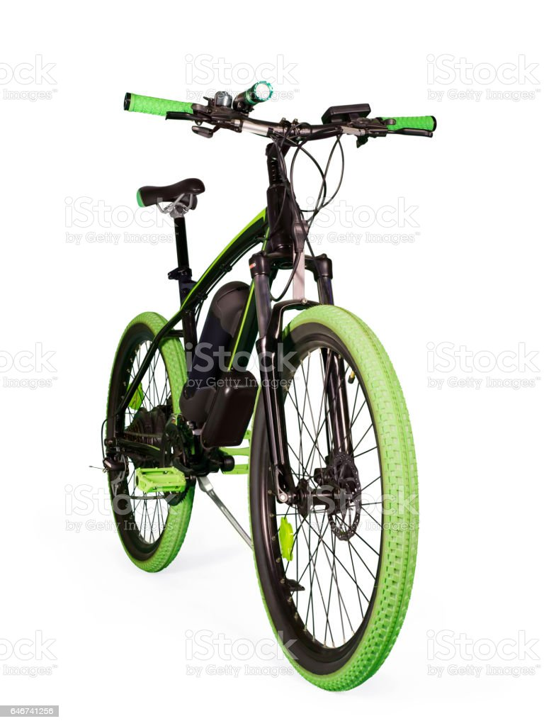 Electric bike on white with clipping path - foto de stock