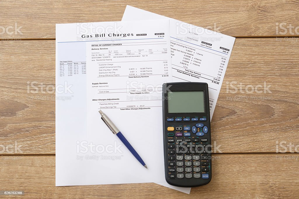 Electric bill charges paper form on the table – Foto