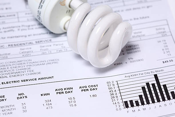electric bill - financial bill stock photos and pictures