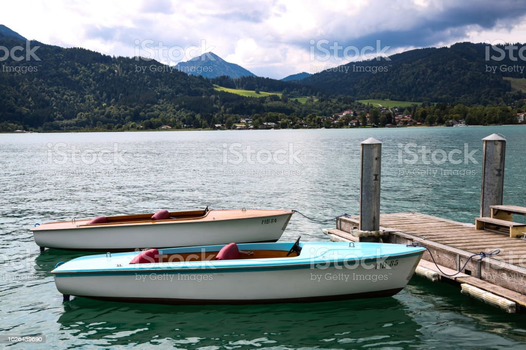 Electric boats on Tegernsee, vacation in Bavaria stock photo