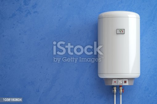 istock Electric boiler, water heater on the blue wall. 1038180604
