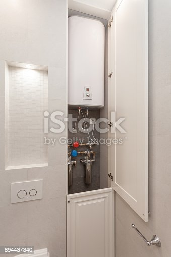 996279800istockphoto Electric Boiler with water filters in the  white shower room 894437340