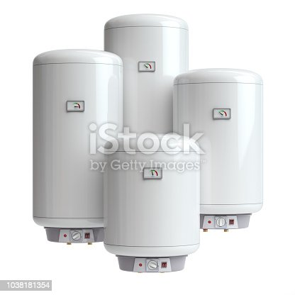 istock Electric boilers, water heater isolated on white background. 1038181354
