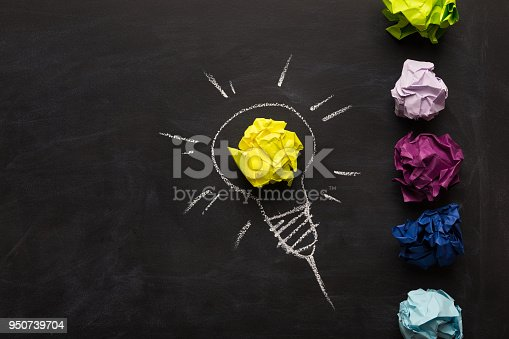istock Electric bulb drawn on chalkboard with yellow paper for glowing light 950739704