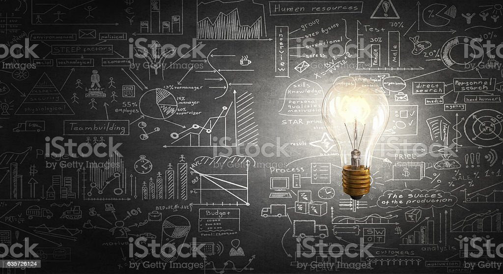Electric bulb on texture . Mixed media stock photo
