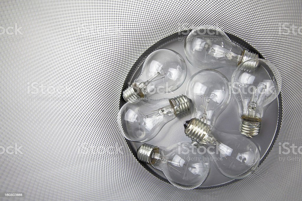 Electric Bulbs In The Dustbin royalty-free stock photo