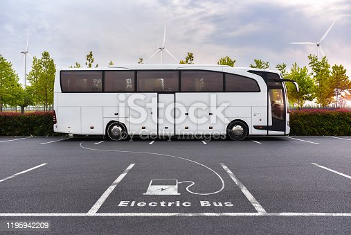 Electric bus on charging with using pure energy from windmills