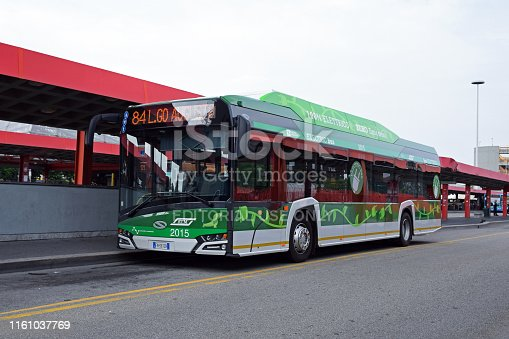 Milan, Italy - May 28th, 2018: Electric bus Solaris Urbino 12 Electric parked on the bus stop in Milan. The electric buses replaces gasoline buses in future.