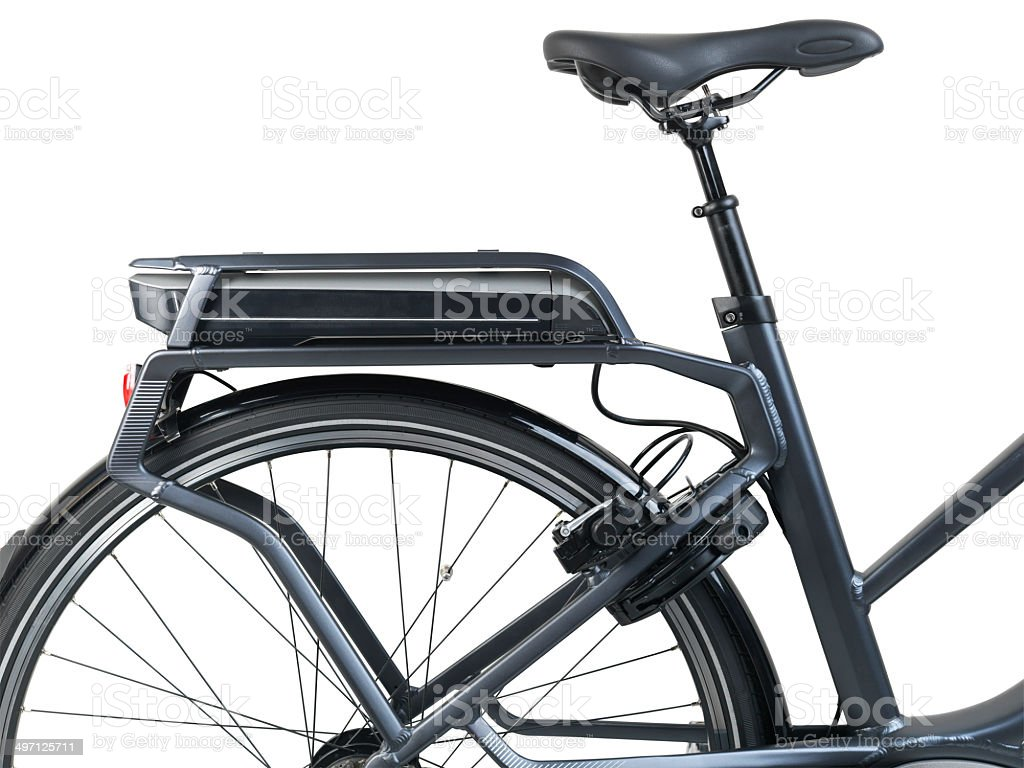 Electric bycycle battery power pack - Ebike stock photo
