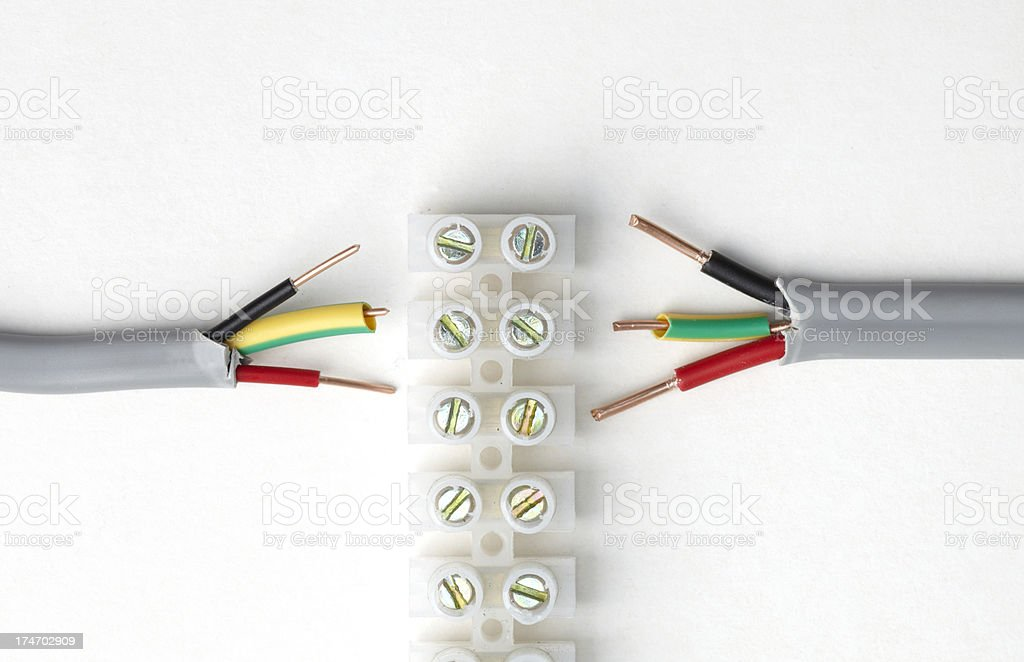 Electric cable connector block with british wires royalty-free stock photo