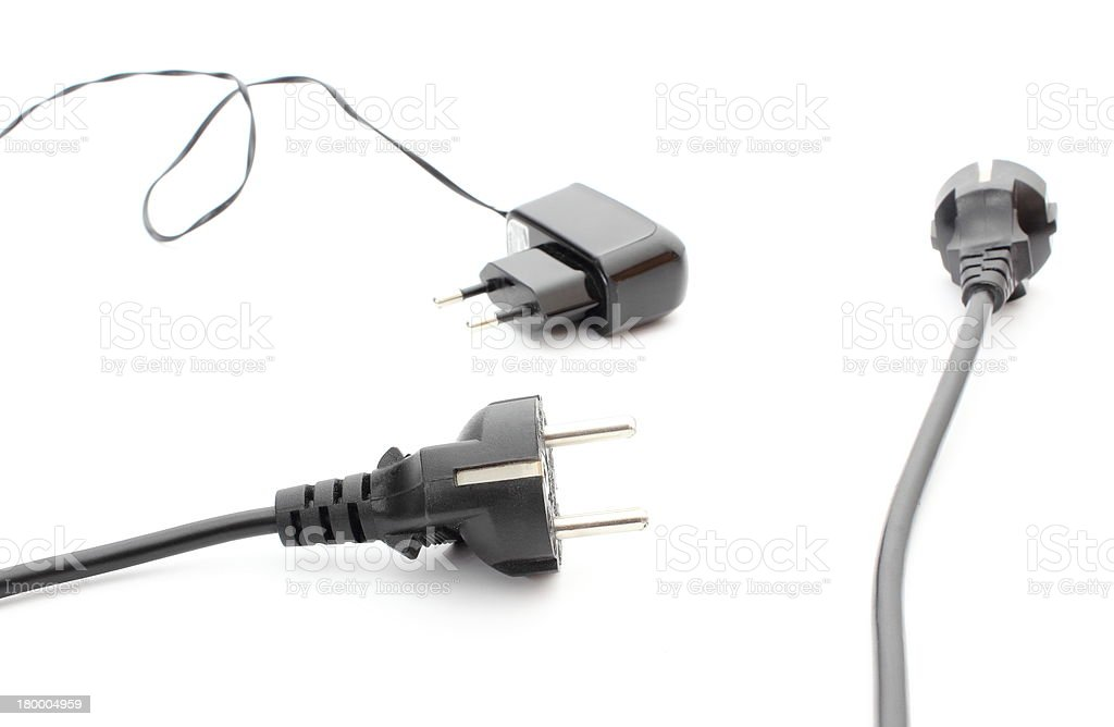 Electric cable for appliances on white background royalty-free stock photo