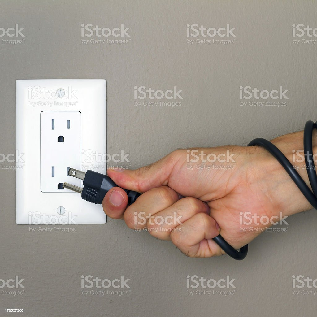 Electric cable on the hand royalty-free stock photo