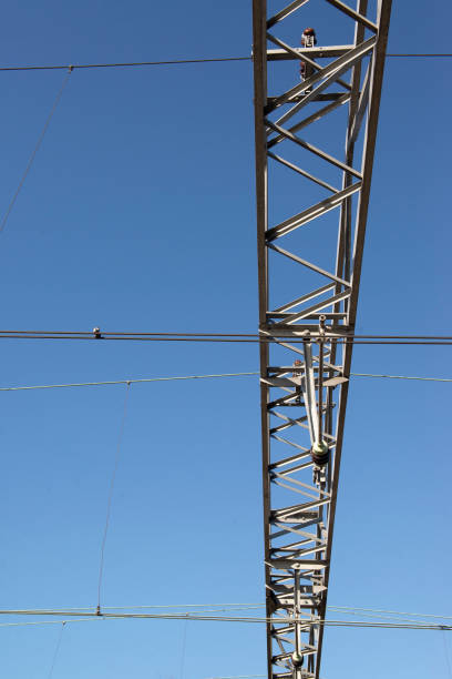 Electric cables and blue sky stock photo