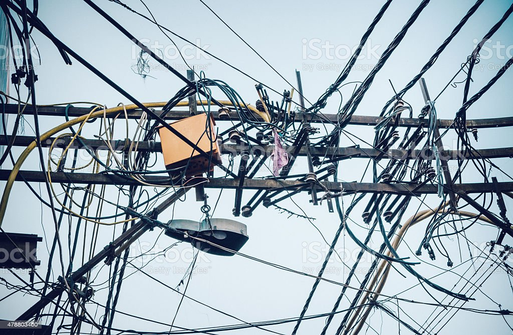 Astounding Electric Cables Chaos In India Stock Photo More Pictures Of 2015 Wiring Digital Resources Remcakbiperorg