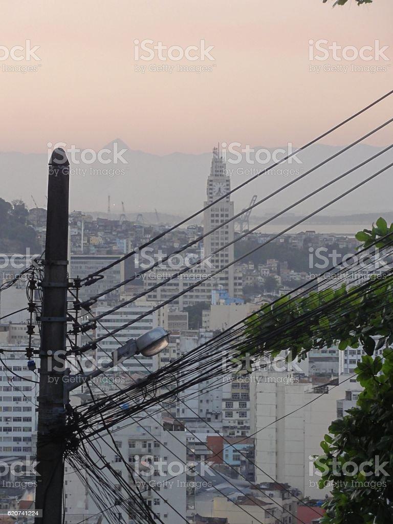 Electric cables in Rio de Janeiro stock photo