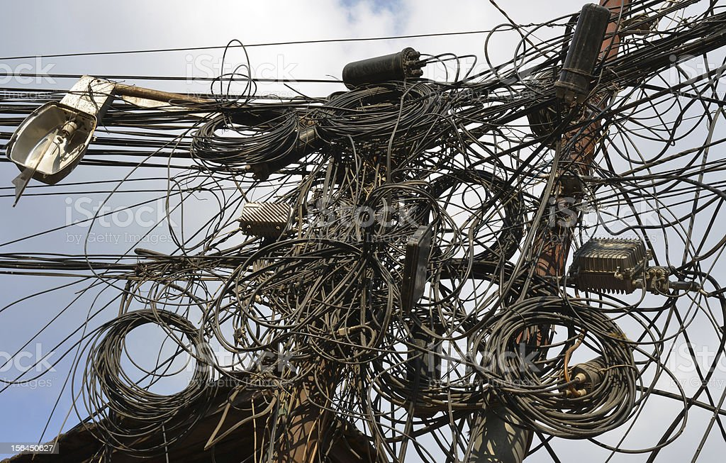Electric cables, Nepal royalty-free stock photo