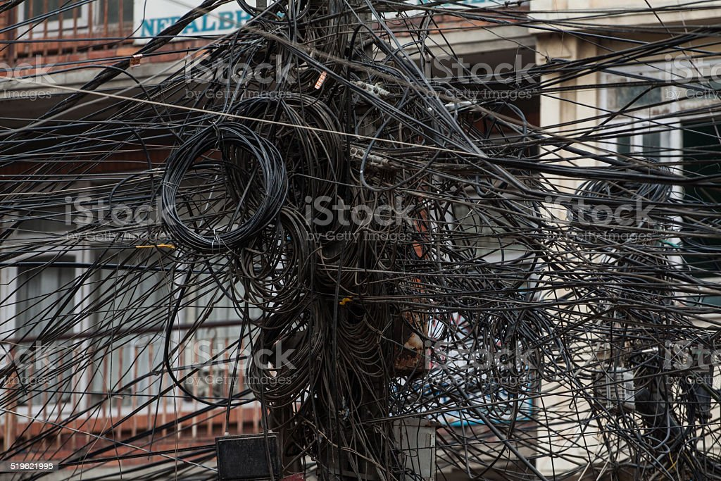 Electric cables, Nepal stock photo