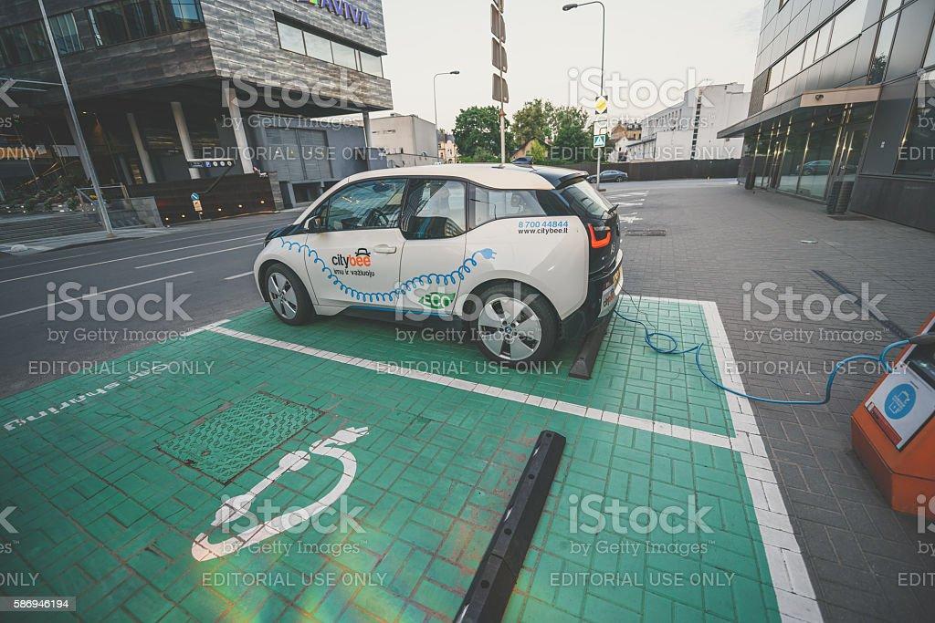Electric car BMW I3 stock photo
