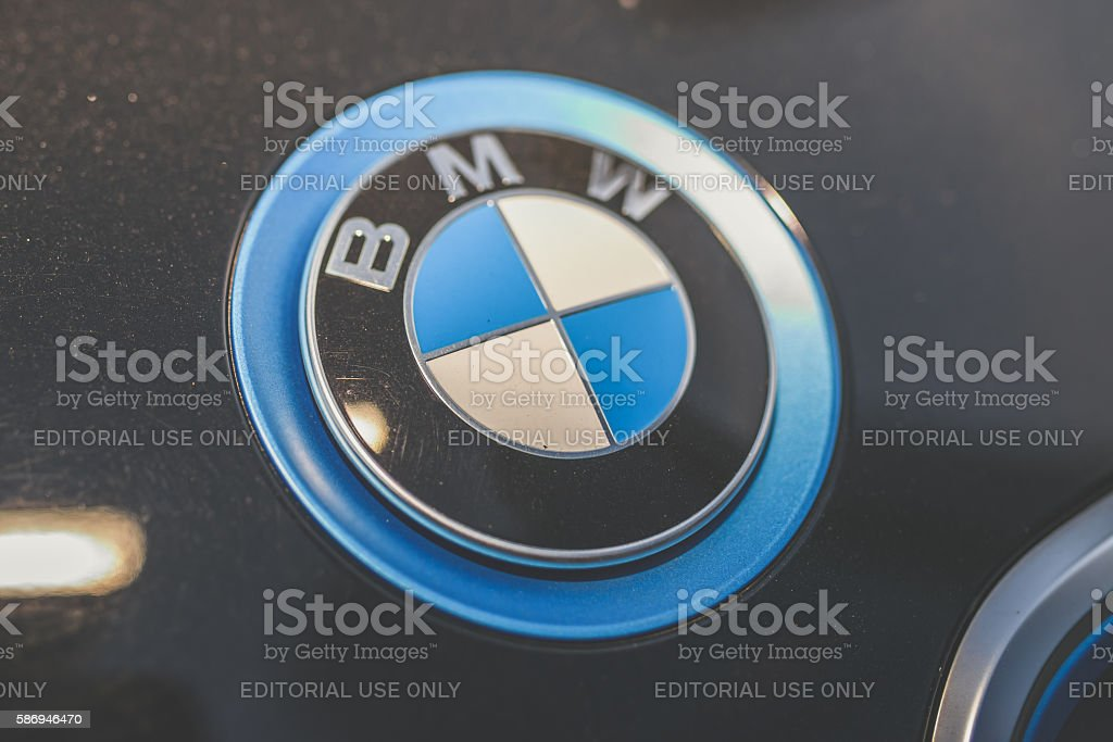 Electric car BMW I3 sign stock photo