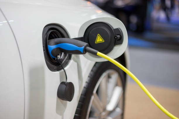 Electric car charger. Power supply electric car charging for electric car technology transportation in the future.