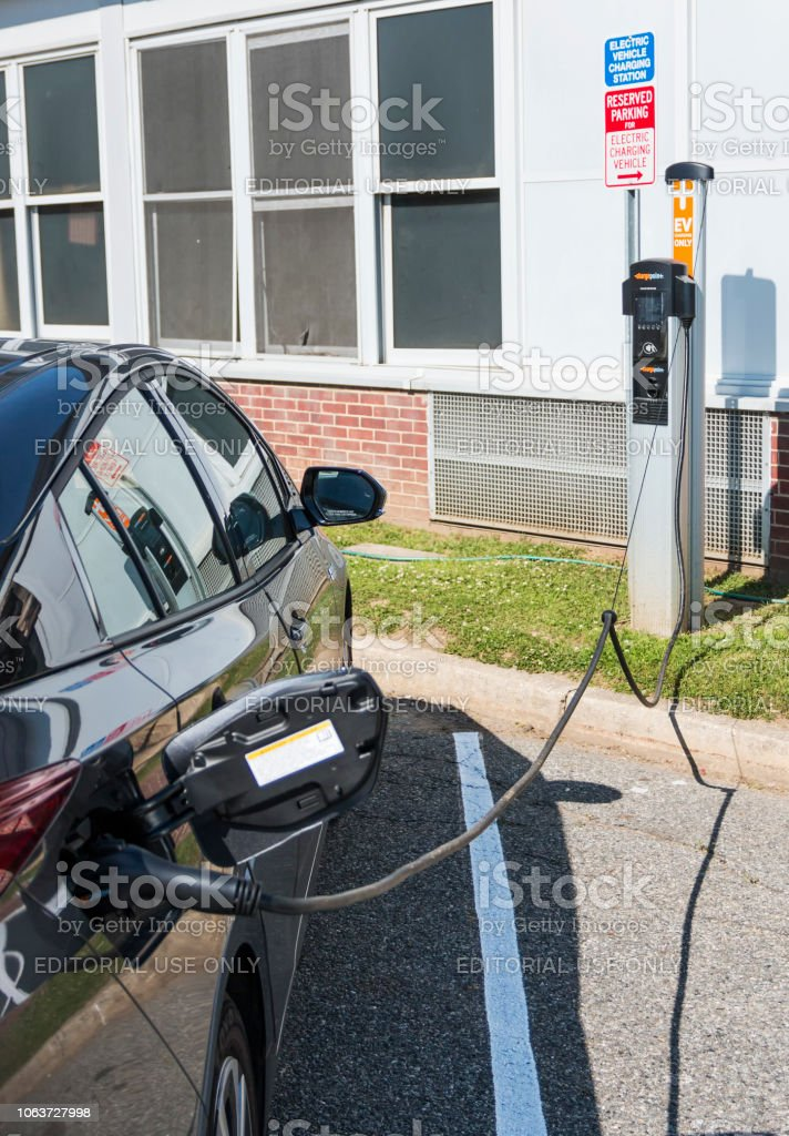 North Babylon, New York, USA - 16 June 2018: An electric car is...