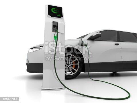 3D illustration of electric car.