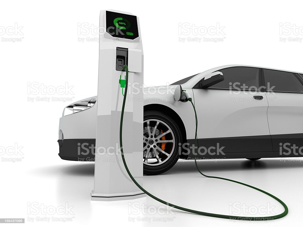 Electric car charging at compute-controlled spot stock photo