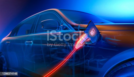 Electric Car Charging At Power Station - New alternative power energy concept