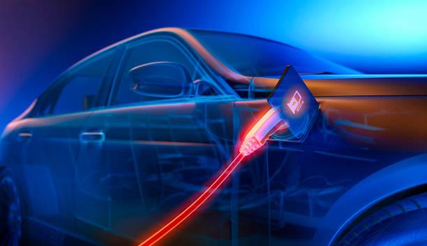 ładowanie samochodu elektrycznego w elektrowni - przewód składnik elektryczny zdjęcia i obrazy z banku zdjęć