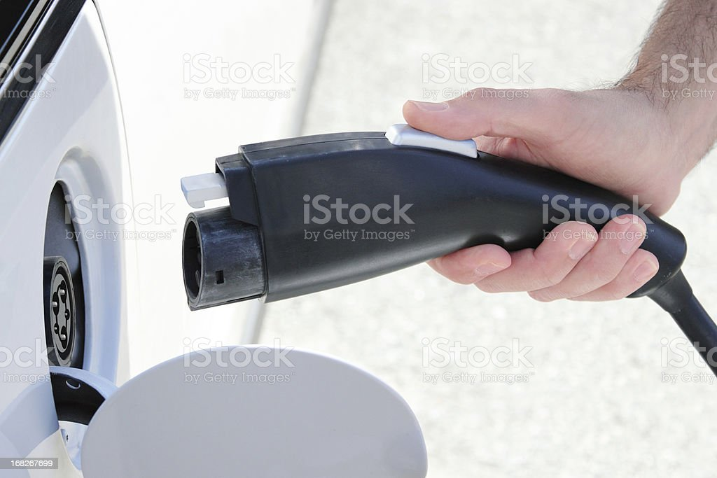 Electric Car Charging Cord royalty-free stock photo