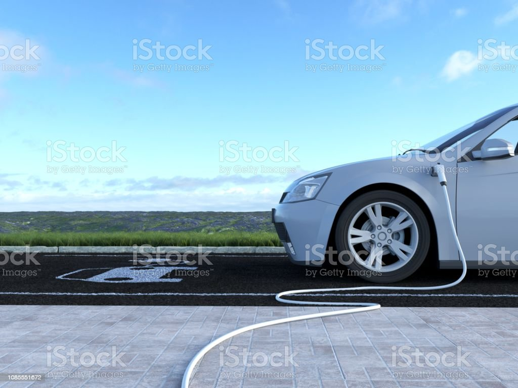 Electric Car Charging 3D illustration of electric car  This image doesn`t contain any visible trademarked products, corporate identity, logos, or copyrighted elements. I am author of design of this car. I am author of 3d model of this car Alternative Fuel Vehicle Stock Photo