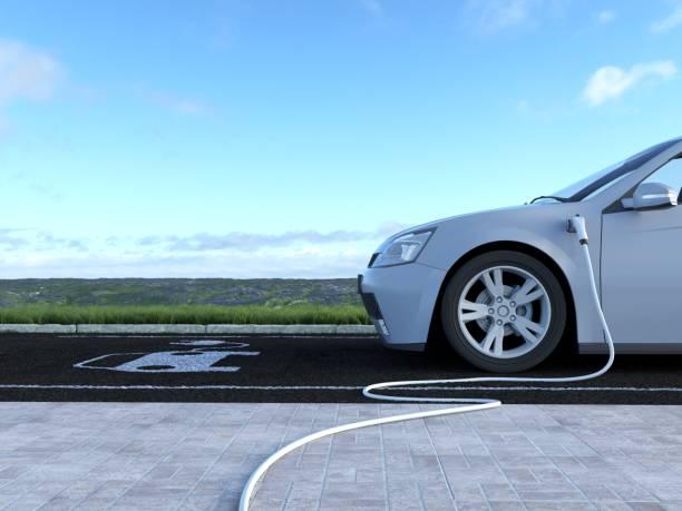 electric car charging - automobile con biodiesel foto e immagini stock
