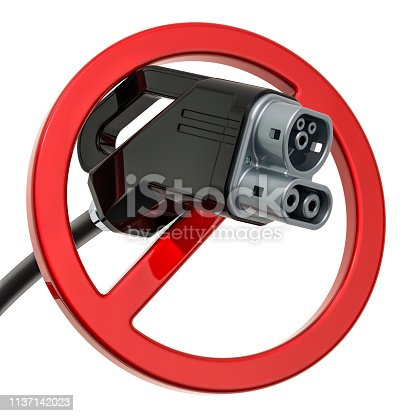 istock Electric car charging plug with forbidden sign, 3D rendering isolated on white background 1137142023