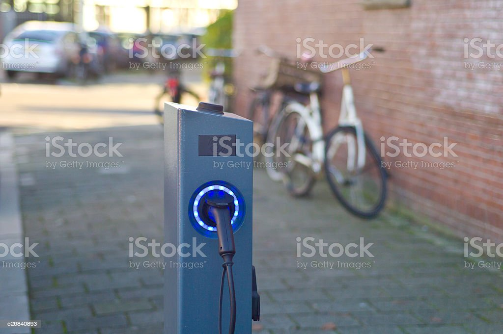 Electric car charging point stock photo