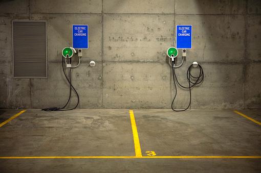 Australian recharging station in parking lot, new sustainable car recharging.