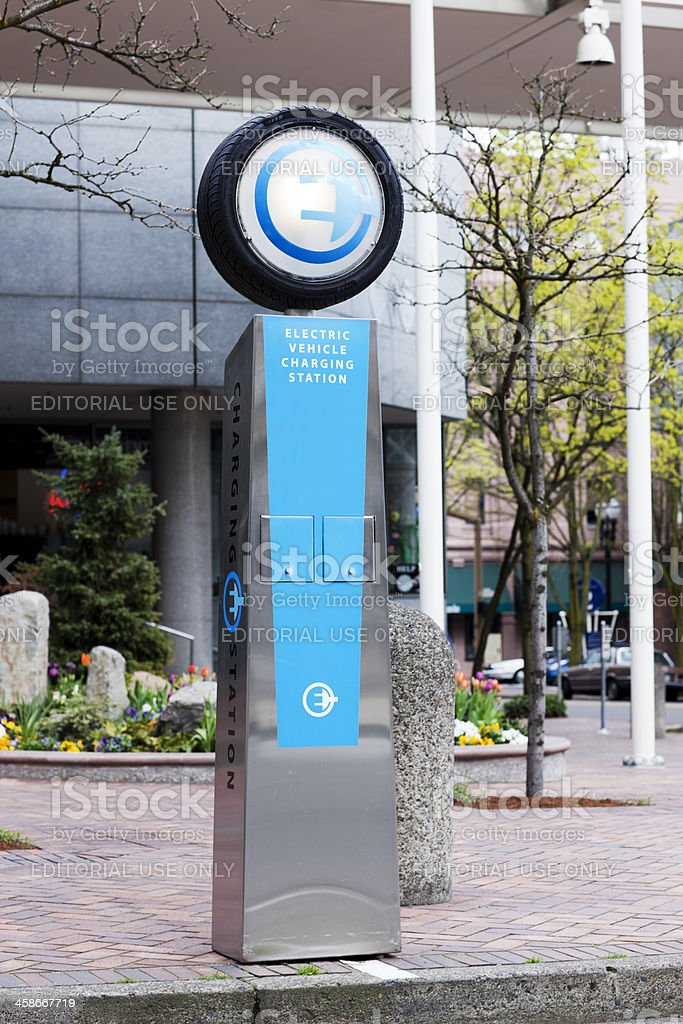Electric Car Charging Station in Portland Oregon stock photo