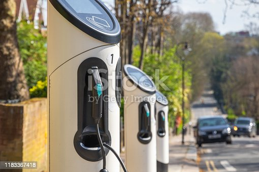 Electric car charging station around Crouch End area on London street