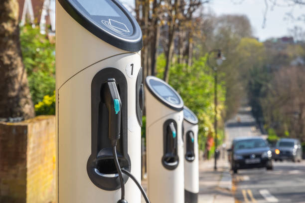 Electric car charging station on London street stock photo