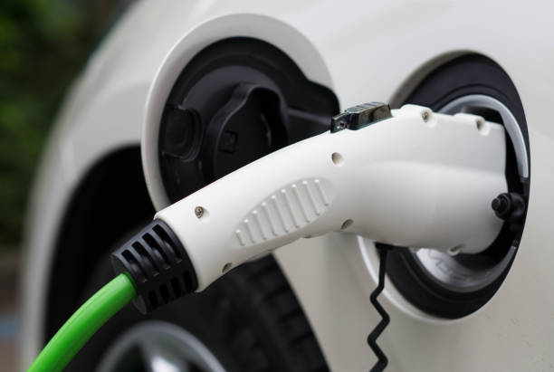 Electric car charging station - foto stock