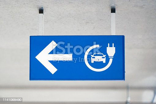 istock Electric car charging station signal. 1141068490